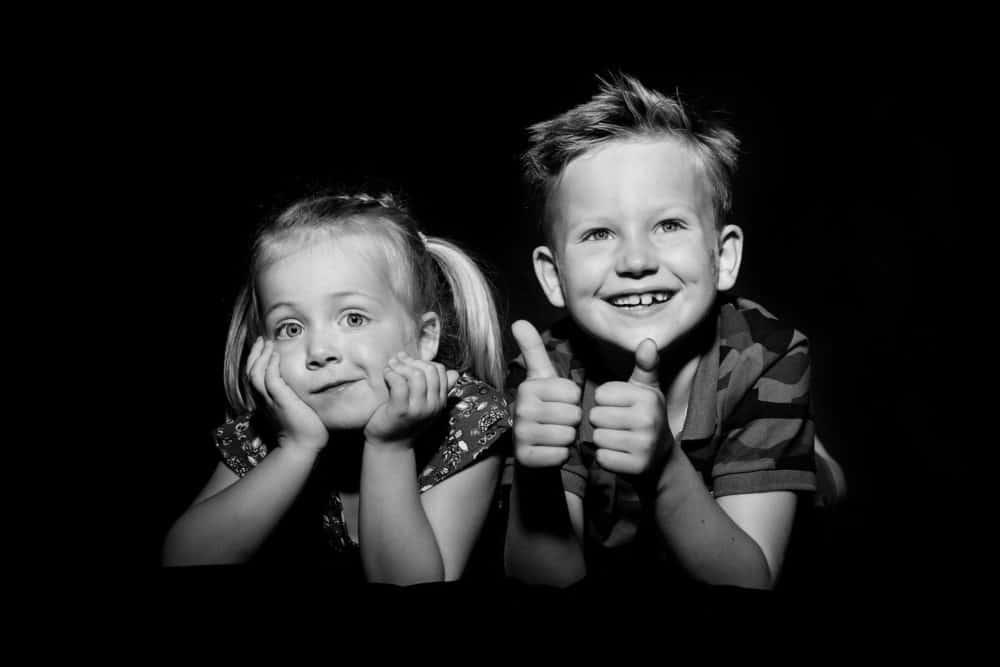 Studiofotografie, familiefoto, zwart wit portret